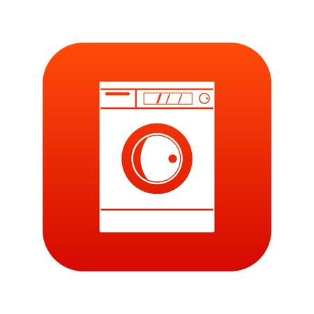 Washing machine icon digital red for any design isolated on white vector illustration