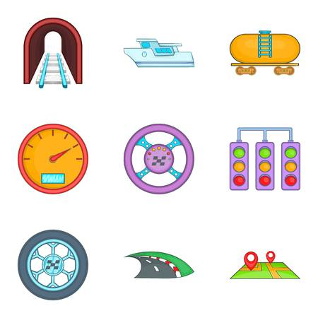 Passenger transport icons set, cartoon style