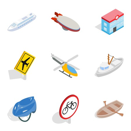 Travel the city icons set. Isometric set of 9 travel the city vector icons for web isolated on white background Çizim