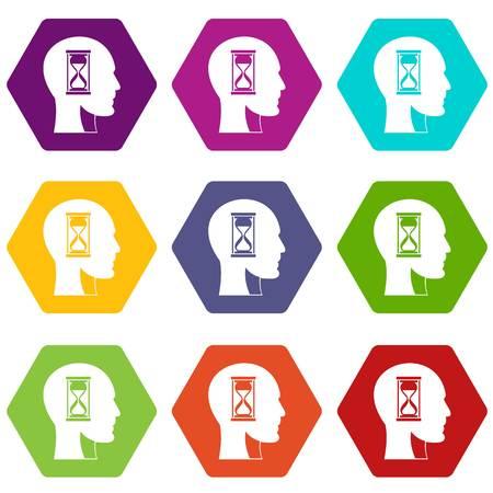 Hourglass in head icon set many color hexahedron isolated on white vector illustration Vektoros illusztráció