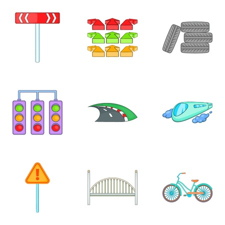 Network of highways icons set, cartoon style Çizim