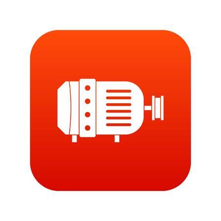 Electric motor icon digital red  イラスト・ベクター素材