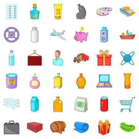 Haulage icons set. Cartoon set of 36 haulage vector icons for web isolated on white background