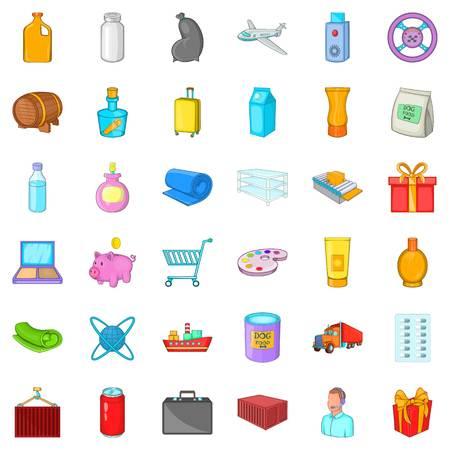 Cargo transportation icons set. Cartoon set of 36 cargo transportation vector icons for web isolated on white background Illustration