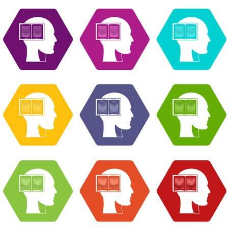 Kopf mit offenem Buch-Symbol Farbe Hexaeder Vektorgrafik