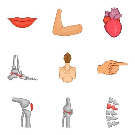 Sound body icons set, cartoon style