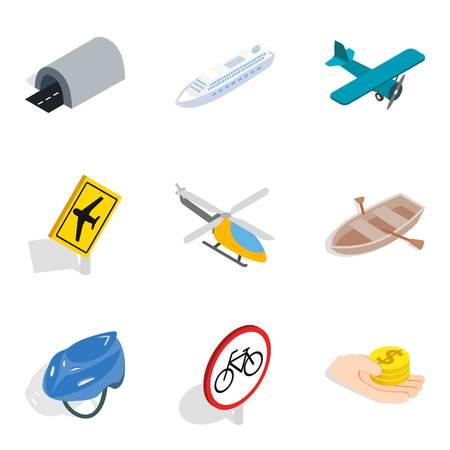 Passenger motor transport icons set, isometric style