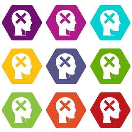Human head with cross inside icon set many color hexahedron isolated on white vector illustration