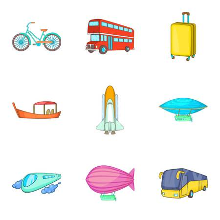 Traffic network icons set. Cartoon set of 9 traffic network vector icons for web isolated on white background