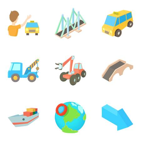 Road system icons set. Cartoon set of 9 road system vector icons for web isolated on white background