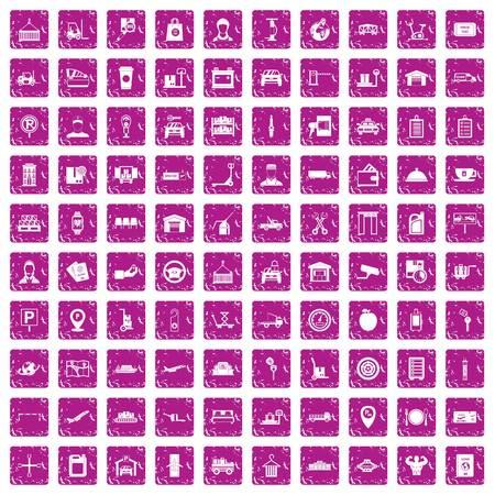 100 loader icons set grunge pink