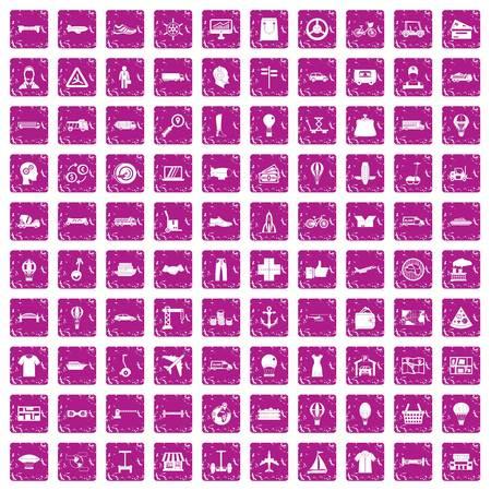 100 logistics icons set grunge pink