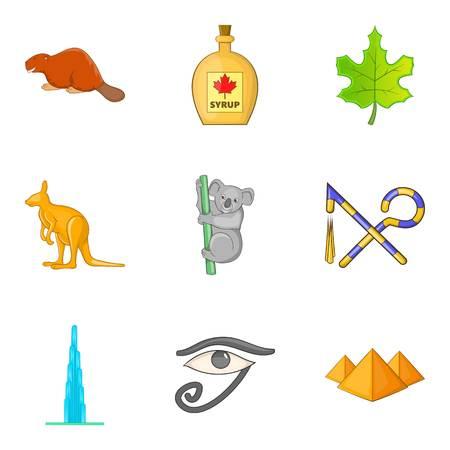 Hassle free travel icons set, cartoon style Stock Illustratie