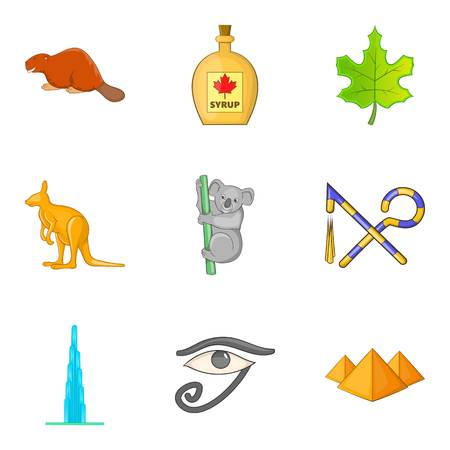 Hassle free travel icons set, cartoon style Illustration