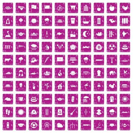 100 lotus icons set grunge pink Illustration