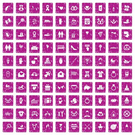100 love icons set in grunge style pink color isolated on white background vector illustration Illustration