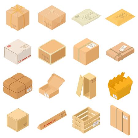 Icone della scatola di imballaggio del pacco messe, stile isometrico