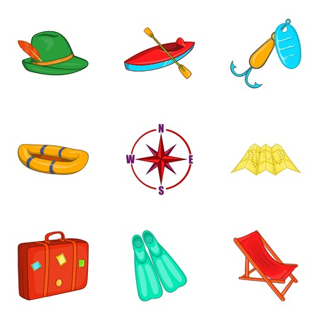 adventure or vacation icons set, cartoon style Vector illustration.