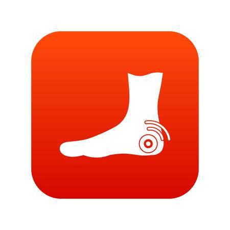 Foot heel icon digital red Vector illustration.