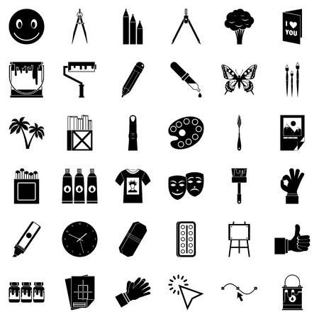 Varnish icons set. Simple set of 36 varnish vector icons for web isolated on white background Illustration