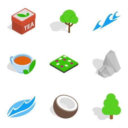 Eco zone icons set. Isometric set of 9 eco zone vector icons for web isolated on white background