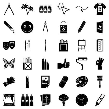 Pigment icons set. Simple set of 36 pigment vector icons for web isolated on white background