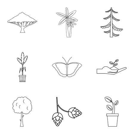 Environmental zone icons set. Outline set of 9 environmental zone vector icons for web isolated on white background 向量圖像