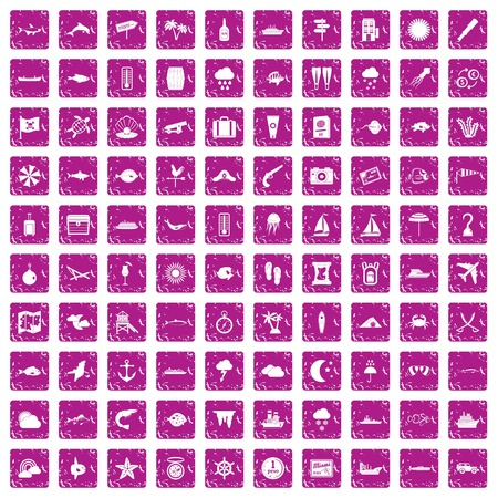 100 marine environment icons set in grunge style pink color isolated on white background vector illustration