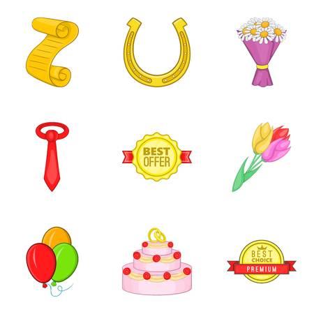 Highest award icons set. Cartoon set of 9 highest award vector icons for web isolated on white background