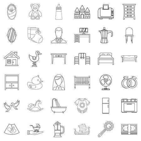 Grandparent icons set. Outline set of 36 grandparent vector icons for web isolated on white background