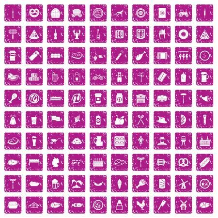 100 meat icons set grunge pink Vector illustration.