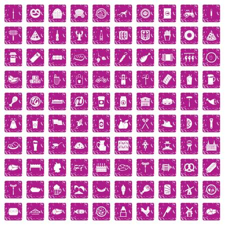 100 meat icons set grunge pink Vector illustration.