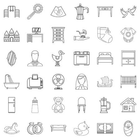 Parental supervision icons set, outline style Vector illustration.