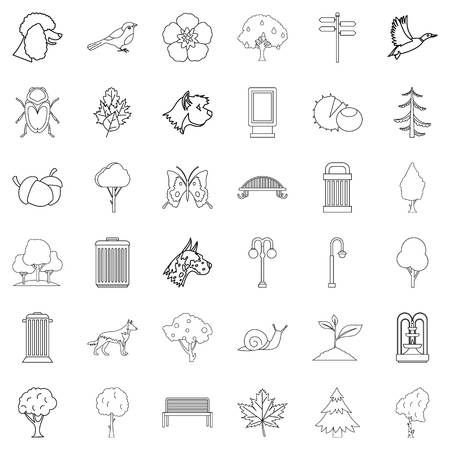 Common garden icons set, outline style Vector illustration.