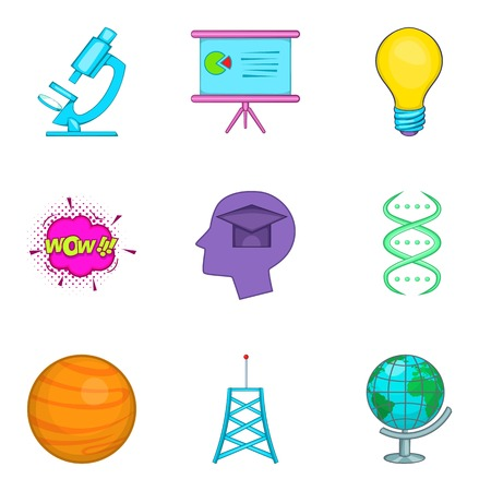 Human intellect icons set, cartoon style Vector illustration.