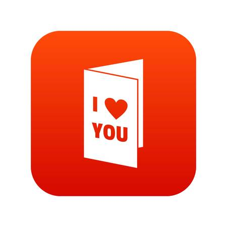 Happy Valentines day or weeding card icon digital red 일러스트