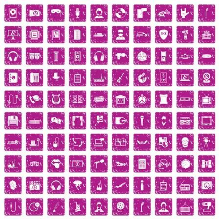 100 microphone icons set grunge pink  イラスト・ベクター素材