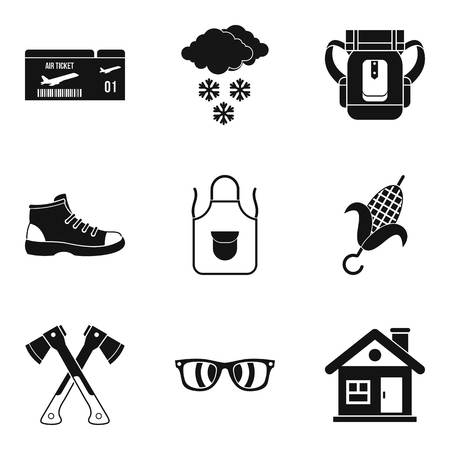 Unforgettable vacation icons set, simple style Vector illustration.