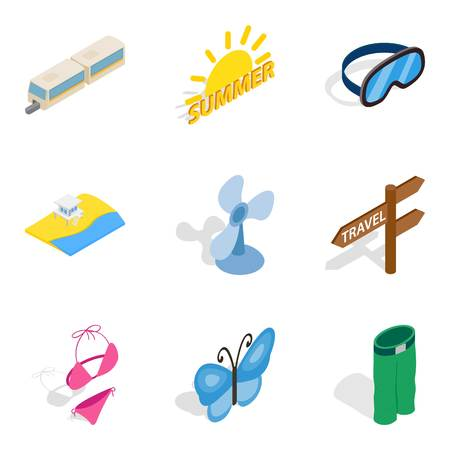 Summer vacation icons set, isometric style Vector illustration.