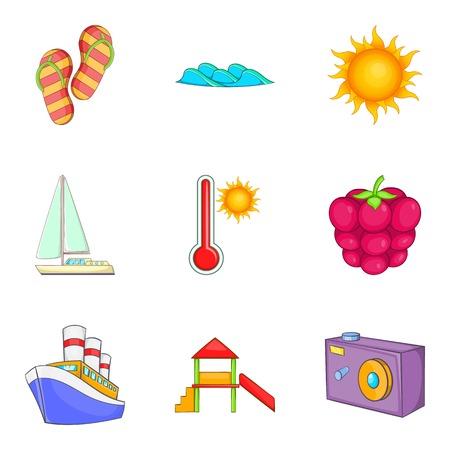 icons set with camera, ship, sun, thermometer.  cartoon style Vector illustration. Çizim