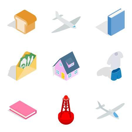 Business building icons set, isometric style Vector illustration. Illustration
