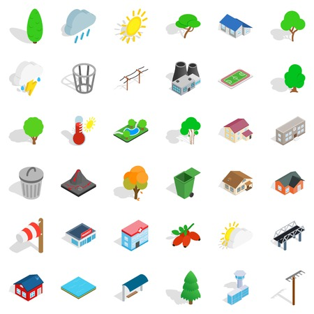 Greening icons set, isometric style Vector illustration.