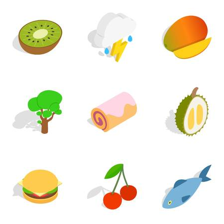 Vegan icons set, isometric style Vector illustration.