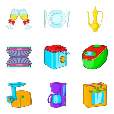 Kitchen service icons set, cartoon style Vector illustration.
