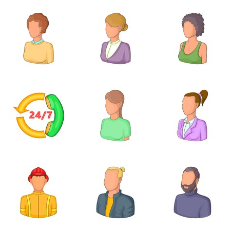 Personal profile icons set, cartoon style Vector illustration.