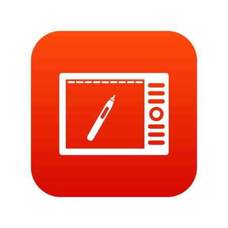 Graphics tablet icon digital red Vector illustration. Illustration