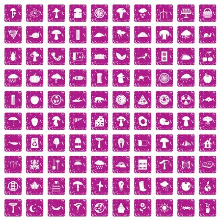 100 mushrooms icons set grunge pink Vector illustration. Vettoriali