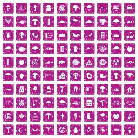 100 mushrooms icons set grunge pink Vector illustration. Vectores