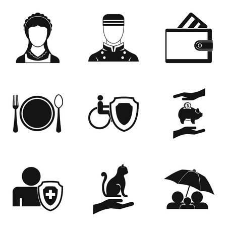 Oral folklore icons set, simple style Vector illustration.