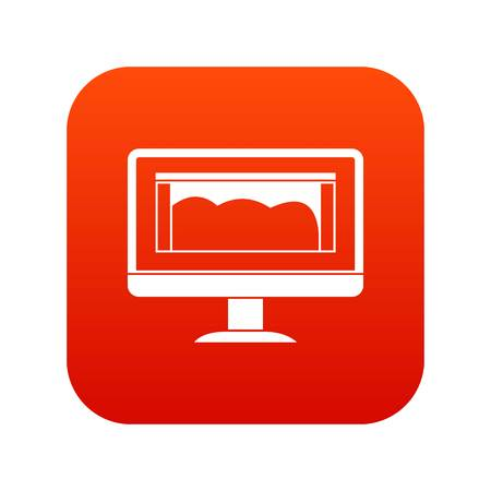 Drawing monitor icon digital red Vector illustration.